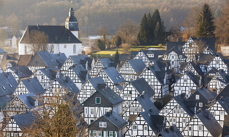 "31 Jan 2012, Freudenberg, Germany --- Half-timbered houses in the historical part ""Alter Flecken"", winter --- Image by © Frank Lukasseck/Corbis"